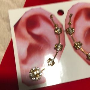 New Gold Champagne/White Diamond Ear Pins